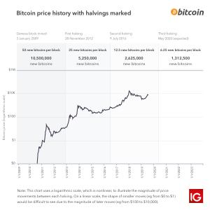 De prijs historie van bitcoin met gemarkeerde beloning halveringen