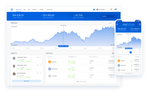 Weergave van mobiel en desktop dashboard van blockport / bux crypto exchange platform