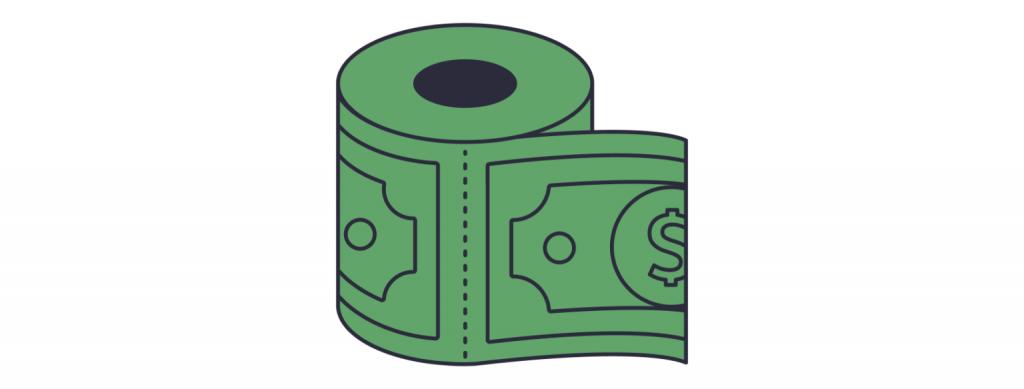 geld wordt geprint als toiletpapier wat inflatie veroorzaakt